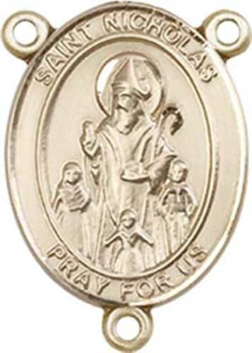 14K Gold Filled Saint Nicholas Rosary Centerpiece Medal, 3/4 Inch