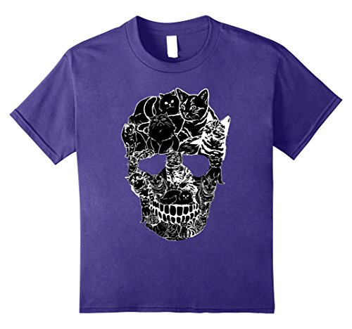Kids Cat Skull T-Shirt - Kitty Skeleton Halloween Costume Idea 8 Purple
