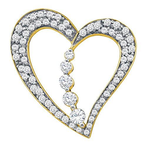 - 10K Yellow Gold Diamond Heart Journey Necklace Pendant 3/8 Ctw.