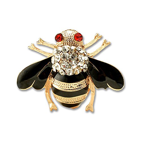 Yolanda Cute Enamel Crystal Rhinestone Insect Bug Honey Bee Brooch Pin (White Stones)
