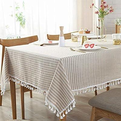 JYPHM - Mantel cuadrado a rayas con flecos, algodón, lino ...