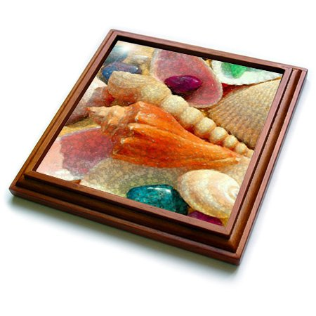 Pink Shell Mosaic (Florene Shells - Image of Mosaic Style With Real Florida Seashells - 8x8 Trivet with 6x6 ceramic tile)
