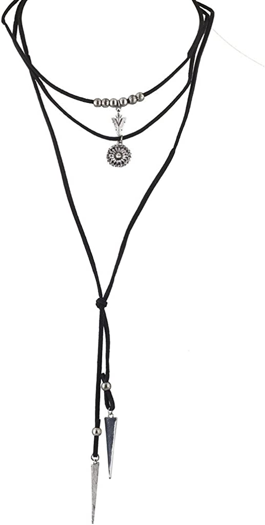 Lux Accessories Silver Black Suede Cord Boho Lariat Choker Necklace