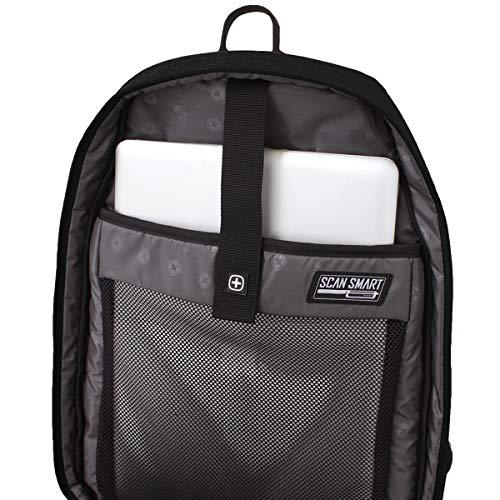 SWISSGEAR Large, Padded, ScanSmart 15-inch Laptop Backpack   TSA-Friendly Carry-on   Travel, Work, School   Men's and Women's - Black by Swiss Gear (Image #3)