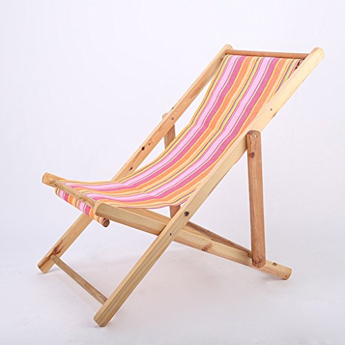 Solid Wood Beach Chair Balcony Deck Chair Office Siesta Chair Foldable Recliner Outdoors Canvas Chair (Color : A)