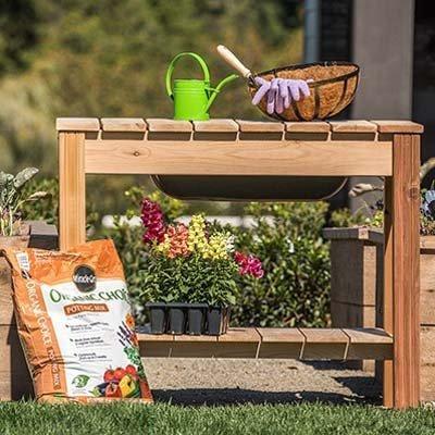 Cedar Garden Potting Table - ARBORIA Classic Cedar Potting Bench with Reservoir