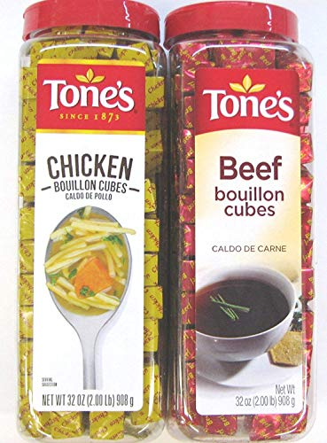 2 Pack: Tone's Chicken Bouillon Cubes and Tone's Beef Bouillon Cubes Variety Pack, 32 Oz Each, 1 of Each Flavor. (Bundle of 2), 227 Cubes Per Container