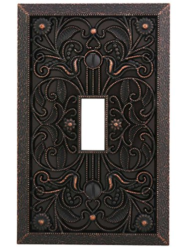 Filigree Single-Toggle Switch Plate in Aged Bronze ()