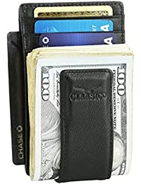1714a0410891 Money Clip Leather Wallet For Men Slim Front Pocket RFID Blocking Card  Holder With Super Strong