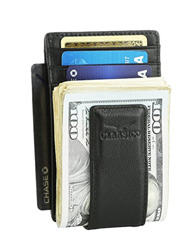 Money Clip Leather Wallet For Men Slim Front Pocket RFID Blocking Card Holder With Super Strong Magnetic (Black) (Money Clip Id Wallet)