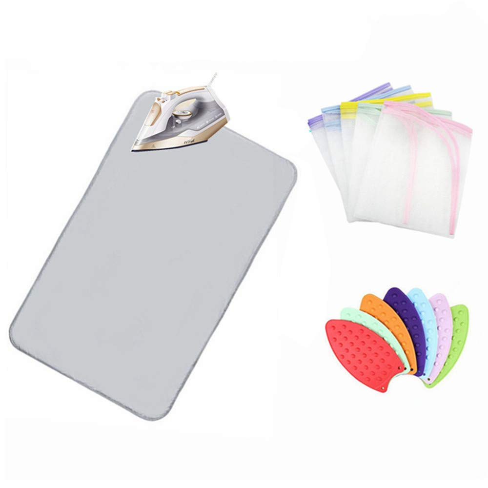 Nnty Gluck Upgraded Thick Ironing Blanket,Portable Ironing Mat with Silicone Pad,and Press Ironing Cloth Mesh,Heat Resistant Ironing Pad Cover for Washer,Dryer,Table Top,Countertop,Iron Anywhere IMLSC