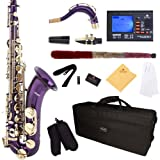 Mendini by Cecilio MTS-PL+92D Purple Lacquer B Flat Tenor Saxophone with Tuner, Case, Mouthpiece, 10 Reeds and More