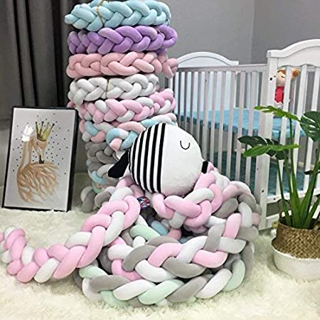 Baby Crib Bumper Knotted Braided Plush Nursery Cradle Decor Newborn Gift Pillow Cushion Junior Bed Sleep Bumper White-Gray-Green, 79//2 meters