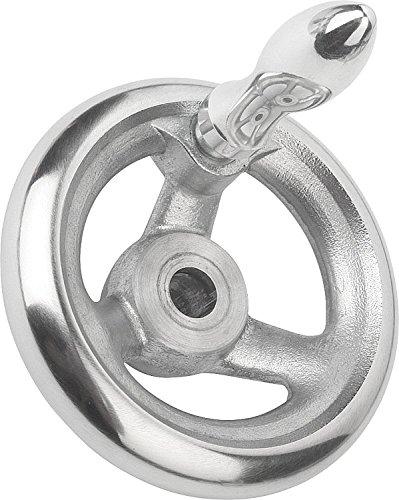 Kipp 06273-4315X30 Aluminum/Steel Hand Wheel with Revolving Machine Handle, 315 mm Diameter, 30 mm Bore Size