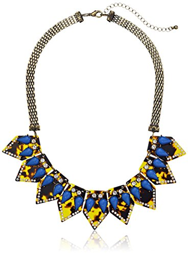 """Gold-Tone, Faux Tortoise Shell, And Crystal Geometric Statement Necklace, 17"""" + 3"""" Extender"""