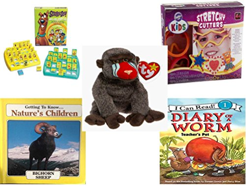 Children's Gift Bundle - Ages 3-5 [5 Piece] - Scooby-Doo Who Are You Game - Wilton Kids Stretchy Silicone Cookie Cutter Set, 10-Piece - Ty Beanie Baby - Cheeks the (Scooby Doo 3 Piece)