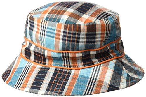 - Baby Banz Baby Boys Bucket Hat, Blue/Orange Check, 0-2 Years