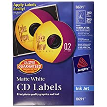 Avery CD/DVD Labels CD/DVD labels - 100 Disc labels & 200 Spine labels (8691)