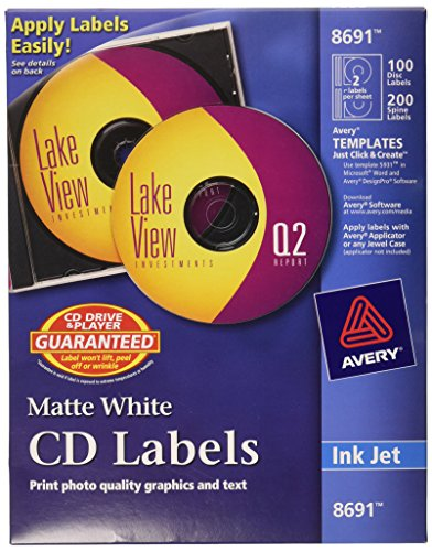 Avery Cd Label - Avery CD Labels - 100 Disc labels & 200 Spine labels (8691)