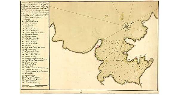 1750 Vintage carta náutica Costa da Morte España camerinas- mapa Reimpresión 44