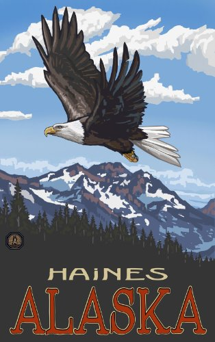 Northwest Art Mall Haines Alaska Eagle Soaring Artwork by Paul A. Lanquist, 11 by - Mall Haines