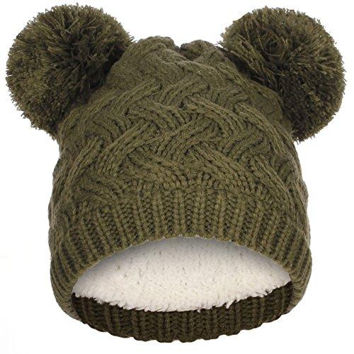 Emmalise Women's Double Pom Pom Beanie Extra Warm Layer Winter Knit Hat - Chunky Knit Yarn Pompom - ()