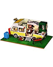 Festnight Miniature Super Mini Size Recreational Vehicle (RV) Doll House Building Model Kits Wooden Furniture Toys DIY Dollhouse Leisure Holiday