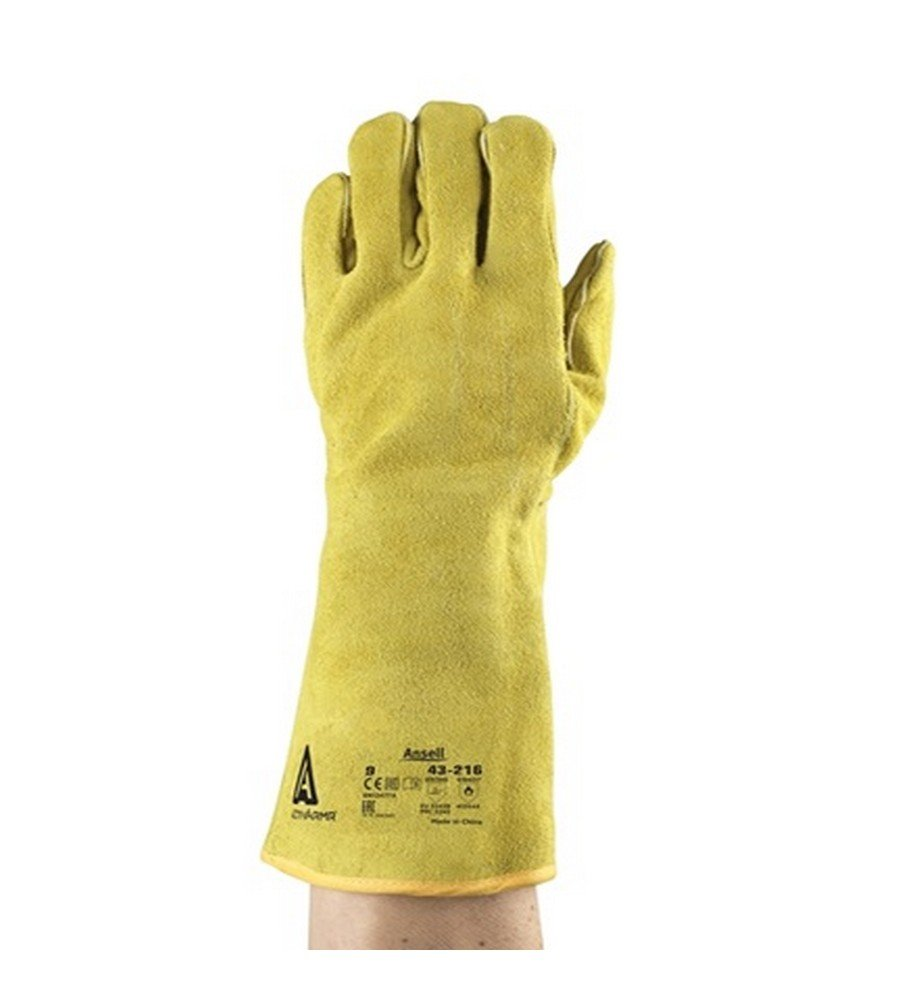 813644 1 Pair Ansell 43-216-9 Leather Welding Gloves - Size 9 Yellow