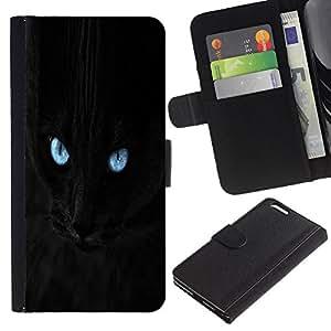 eJoy---La carpeta del tirón la caja de cuero de alta calidad de la PU Caso protector - Apple iPhone 6 PLUS 5.5 - --Blue Eye Black Cat