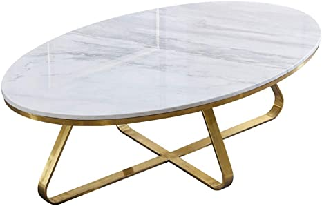 Wxiaj Oval Coffee Table Natural Marble Top Gold Metal Frame Simple Shape Suitable For Hotel Living Room White Amazon De Kuche Haushalt