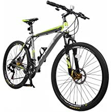 "Merax Finiss 26"" Aluminum 21 Speed Mountain Bike with Disc Brakes Grey&Green"