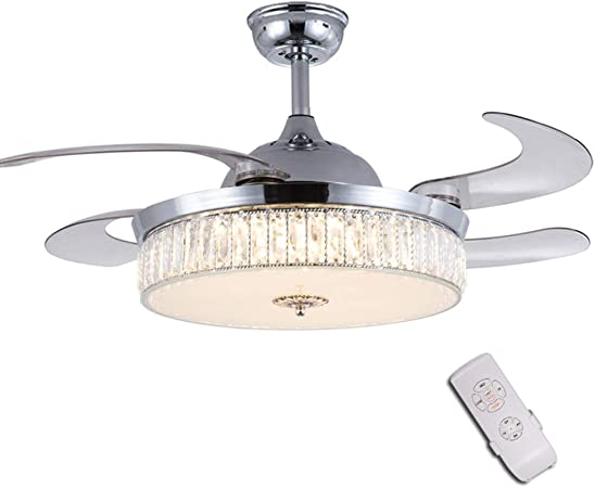 Retractable Crystal Ceiling Fan, 3 Light Change LED Silent Fan Chandelier with Remote Control,42 Inch 36W Modern Invisible Ceiling Fan with Light