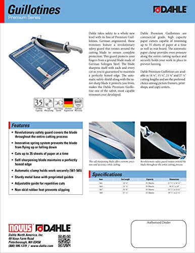 Self-Sharpening Blade 35 Sheet Capacity w//Safety Guard 14-1//8 Cut Length Automatic Clamp Dahle 561 Premium Guillotine Trimmer