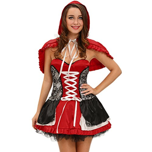 YeeATZ Women's Sweet Little Red Riding Hood Costume Dress(Size,S) (Mickey Mouse Costume Rental For Adults)