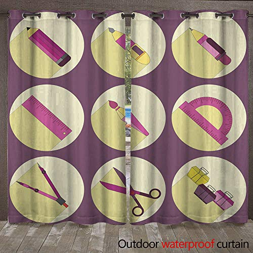 (WinfreyDecor Outdoor Ultraviolet Protective Curtains Stationery Icons Set W96 x L108)