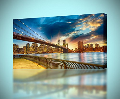 (Brooklyn Bridge New York Sunset CANVAS PRINT Wall Decor Giclee Art Poster CA713, Huge)