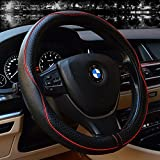 Steering Wheel Covers Universal 15 inch - Genuine Leather, Breathable, Anti Slip & Odor Free (Black with Red Lines)