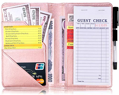 YOMFUN Waitress Book with Money Pocket Waitress Server Book, Server Wallet Server Pads Restaurant Waitstaff Organizer,Guest Check Book Holder Fit Server Apron,5X 7.7