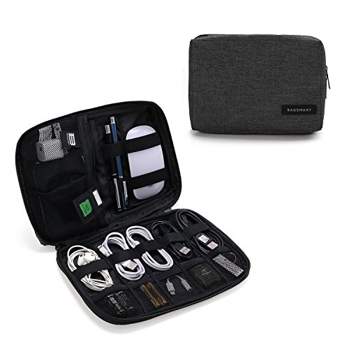 BAGSMART Electronic Organizer Small Travel Cable Organizer Bag for Hard Drives, Cables, Phone, USB, SD Card, Black