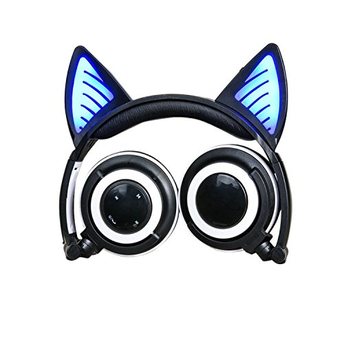 Kids Wireless Bluetooth Cat Ear Headphones, Topway USB Rechargeable Headset Flashing Glowing Cosplay Fancy Cat Headphones Foldable Over-Ear Earphone with LED Flash Ligh (Black)