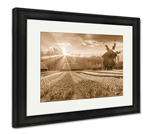Fields of Tulips in Village, Wall Art Home Decoration, Sepia, 26x30 (Frame Size), Black Frame, AG5997697 ()