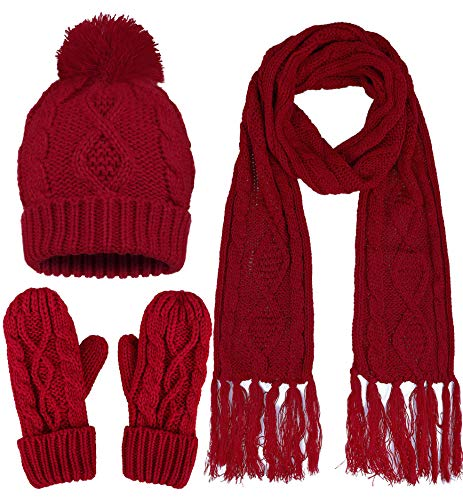 rm Knitted Snowflake Hat Gloves and Scarf Winter Set ()