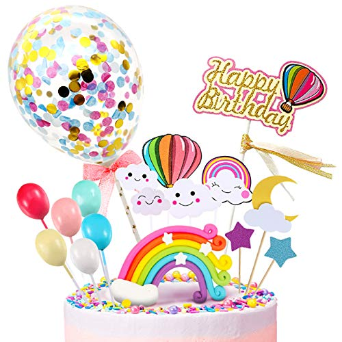 iZoeL Happy Birthday Cake Topper, Rainbow Cloud Cake Decoration, Confetti Balloons, For Boys Girls Kids Birthday Party Decoration (Kids Birthday Cake Topper)