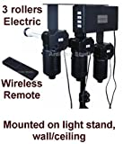 Ardinbir Studio 3x Rollers Electric Motorized Background Support System with Wireless Remote Controller for Muslin, Cloth, Paper Roller- Light Stand, Wall or Ceiling Mounted