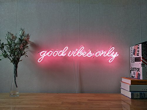 Good Vibes Only Real Glass Neon Sign For Bedroom Garage Bar Man Cave Room Home Decor Handmade Artwork Visual Art Dimmable Wall Lighting Includes Dimmer by AOOS NEON