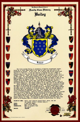 Bailey Coat of Arms/Crest and Family Name History, meaning & origin plus Genealogy/Family Tree Research aid to help find clues to ancestry, roots, namesakes and ancestors plus many other surnames at the Historical Research Center Store (History Surname)