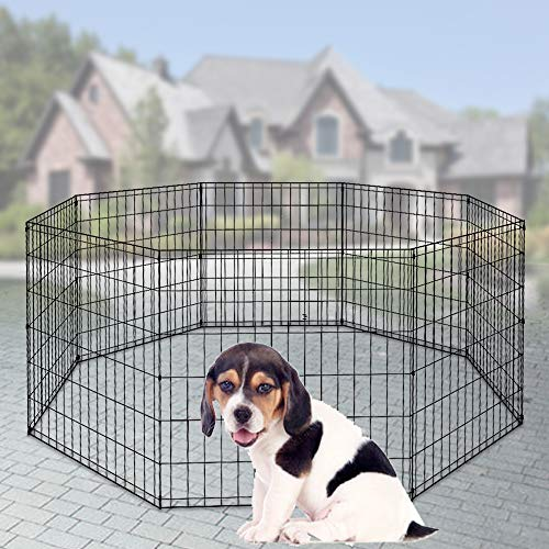 Pet Dog Playpen 8 Panel 48″ Durable Metal Protable Foldable Indoor Outdoor Cat Puppy Exercise Pen with Door Animal Wire Yard Dog Fence Crate Kennel for Small Medium Large Dogs