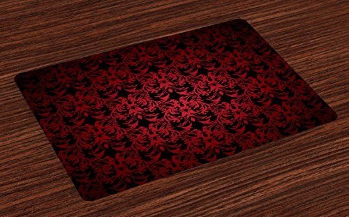 Lunarable Red and Black Place Mats Set of 4, Victorian Antique Old European Design Floral Swirls and Leaves Ombre Image, Washable Fabric Placemats for Dining Room Kitchen Table Decoration, (Black Floral Swirls Design)