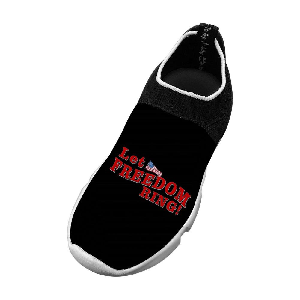 Sports Flywire Knitting Sports Shoes For Unisex Child Print Freedom Flag