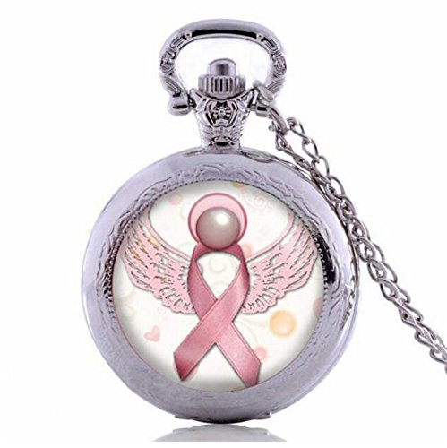 Angel Pink Breast Cancer Awareness Ribbon Swirl Heart Pocket Watch Necklace Glass Art Print Jewelry Charm Gifts for Girls (Watch Breast Awareness Cancer Beading)